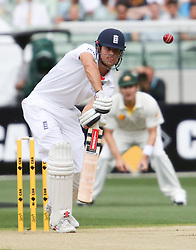 © Licensed to London News Pictures. 26/12/2013. Alastair Cook batting during the Ashes Boxing Day Test Match between Australia Vs England at the MCG on 26 December, 2013 in Melbourne, Australia. Photo credit : Asanka Brendon Ratnayake/LNP