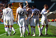 Charlie Taylor celebrates scoring the first goal during the Sky Bet Championship match between Wolverhampton Wanderers and Leeds United at Molineux, Wolverhampton, England on 6 April 2015. Photo by Alan Franklin.