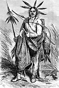 Chayene (Shiennes [Cheyenne]) Chief engraving on wood From The human race by Figuier, Louis, (1819-1894) Publication in 1872 Publisher: New York, Appleton
