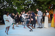 TERESA ROBERTS; JENNY BASTET, Serpentine's Summer party co-hosted with Christopher Kane. 15th Serpentine Pavilion designed by Spanish architects Selgascano. Kensington Gardens. London. 2 July 2015.