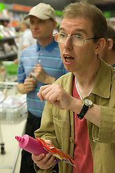 Day Service users with learning disability shopping at the supermarket,