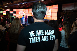 """© Licensed to London News Pictures. 17/01/2020. Manchester, UK. A member of the audience wearing a """" Ye are many they are few """" t-shirt . Salford & Eccles MP Rebecca Long-Bailey launches her campaign to succeed Jeremy Corbyn in the race for Labour Party leadership , at an event in the Museum of Science and Industry in Manchester City Centre . Photo credit: Joel Goodman/LNP"""