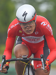 September 15, 2017 - Chenghu City, United States - Guangtong Ma from Hengxiang Cycling team during the fourth stage of the 2017 Tour of China 1, the 3.3 km Chenghu Jintang individual time trial. .On Friday, 15 September 2017, in Jintang County, Chenghu City,  Sichuan Province, China. (Credit Image: © Artur Widak/NurPhoto via ZUMA Press)