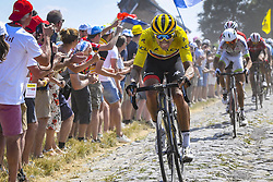 July 15, 2018 - Roubaix, France - ROUBAIX, FRANCE - JULY 15 : VAN AVERMAET Greg (BEL) of BMC Racing Team on the cobblestones during stage 9 of the 105th edition of the 2018 Tour de France cycling race, a stage of 156.5 kms between Arras Citadel and Roubaix on July 15, 2018 in Roubaix, France, 15/07/2018 (Credit Image: © Panoramic via ZUMA Press)