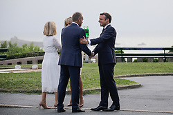 French President Emmanuel Macron and his wife Brigitte welcome the President of the European Council Donald Tusk and his wife Malgorzata at the Biarritz lighthouse, southwestern France, ahead of a working dinner on August 24, 2019, on the first day of the annual G7 Summit. Photo by Thibaud Moritz/ABACAPRESS.COM