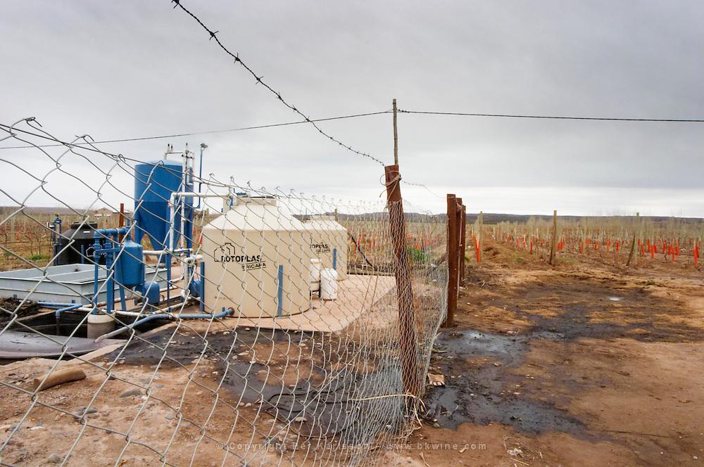 The water treatment plant Bodega Del Anelo Winery, also called Finca Roja, Anelo Region, Neuquen, Patagonia, Argentina, South America