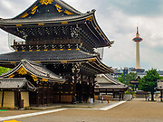 The Higashi-Honganji Temple courtyard with the Kyoto Tower in the background, Kyoyo, Japan