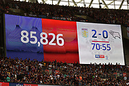 The crowd figure on the electronic scoreboard during the EFL Sky Bet Championship play off final match between Aston Villa and Derby County at Wembley Stadium, London, England on 27 May 2019.