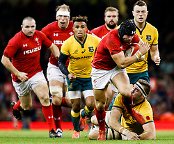 Leigh Halfpenny of Wales makes a break<br /> <br /> Photographer Simon King/Replay Images<br /> <br /> Under Armour Series - Wales v Australia - Saturday 10th November 2018 - Principality Stadium - Cardiff<br /> <br /> World Copyright © Replay Images . All rights reserved. info@replayimages.co.uk - http://replayimages.co.uk