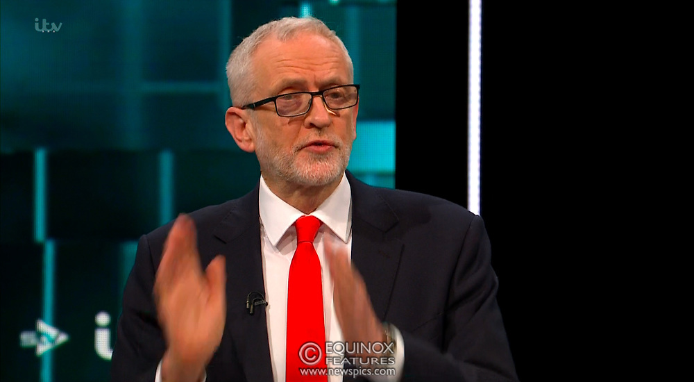 Broadcast TV, United Kingdom - 19 November 2019<br /> Labour leader Jeremy Corbyn and Prime Minister Boris Johnson debate live on ITV tonight as part of the 2019 general election campaign.<br /> (supplied by: Supplied by: EQUINOXFEATURES.COM)<br /> Picture Data:<br /> Contact: Equinox Features<br /> Date Taken: 20191119<br /> Time Taken: 212659<br /> www.newspics.com