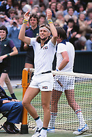 Tennis - 1978 Wimbledon Championships - Men's Singles Final<br /> <br /> Bjorn Borg celebrates after his 6-2 6-2 6-3 victory over Jimmy Connors on Centre Court.<br /> <br /> It was Borg's third Wimbledon title.
