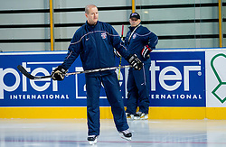 Nik Zupancic, assistant coach and Matjaz Kopitar, head coach during practice session of Slovenian National Ice Hockey team first time in Arena Stozice before 2012 IIHF World Championship DIV I Group A in Slovenia, on April 13, 2012, in Arena Stozice, Ljubljana, Slovenia. (Photo by Vid Ponikvar / Sportida.com)
