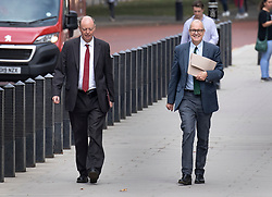 © Licensed to London News Pictures. 21/09/2020. London, UK. Chief Medical Officer for England Chris Whitty walks with Chief Scientific Adviser, Sir Patrick Vallance (R-smiling) walk from Downing Street after they appeared in a televised press conference on the rise of Coronavirus infections. The Prime Minister is expected to announce new measures this week to curb the spread of the Coronavirus and halt a second wave of infections. Photo credit: Peter Macdiarmid/LNP