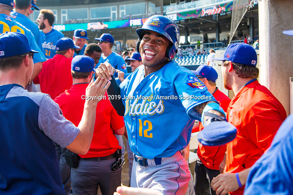 Amarillo Sod Poodles outfielder Buddy Reed (12) against the Tulsa Drillers during the Texas League Championship on Sunday, Sept. 15, 2019, at OneOK Field in Tulsa, Oklahoma. [Photo by John Moore/Amarillo Sod Poodles]