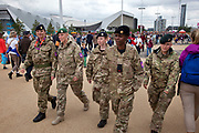 London 2012 Olympic Park in Stratford, East London. British Army on duty after they were brought in to pick up the shortfall in security staff. Many people are happy to see the military on site.