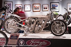 "John Stein's Barnjob drag bike originally built and campaigned by Clem Johnson, here displayed in the ""Built for Speed"" exhibition curated by Michael Lichter and Paul D'Orleans in the Russ Brown Events Center as part of the annual ""Motorcycles as Art"" series at the Sturgis Buffalo Chip during the Black Hills Motorcycle Rally. SD, USA. August 7, 2014.  Photography ©2014 Michael Lichter."
