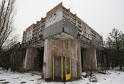 December 22, 2016 - Kiev, Ukraine - An abandoned building in the deserted town of Pripyat,two kilometers from the Chernobyl nuclear power plant, Ukraine, on 22 December,2016. The explosion of Unit four of the Chernobyl nuclear power plant on 26 April 1986 is still regarded the biggest accident of nuclear power generation  in the history. (Credit Image: © Serg Glovny via ZUMA Wire)