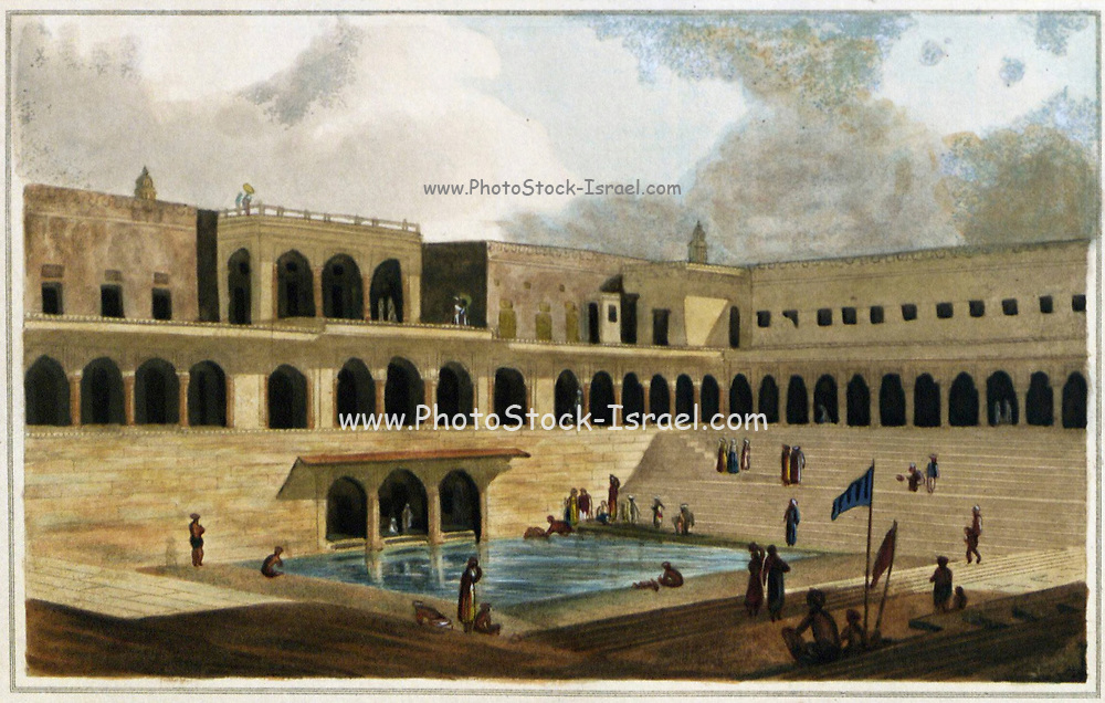 The Baolee at Ramnagur [Ramnagar] This step-well or baoli consists of a square tank surrounded by arcades on various levels and with flights of steps on three sides. It was built by Raja Chait Singh of Benares (1770-81) near his palace, at Ramnagar, on the river Ganges, just above Varanasi. From the book ' Oriental scenery: one hundred and fifty views of the architecture, antiquities and landscape scenery of Hindoostan ' by Thomas Daniell, and William Daniell, Published in London by the Authors May 1, 1813