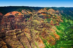 Waimea Canyon, the 'Grand Canyon of the Pacific Ocean', approximately one mile wide and ten miles long, more than 3,500 feet deep, State Park, Kauai, Hawaii