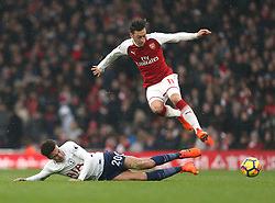 18 November 2017 London : Premier League Football : Arsenal v Tottenham Hotspur - Dele Alli of Tottenham tackles Mesut Ozil.<br /> (photo by Mark Leech)