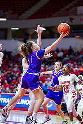NORMAL, IL - January 05: Anna Newman lays up a shot during a college women's basketball game between the ISU Redbirds and the Purple Aces of University of Evansville January 05 2020 at Redbird Arena in Normal, IL. (Photo by Alan Look)
