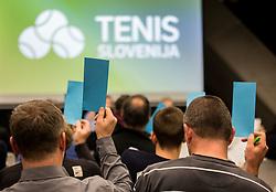 Voting during General Assembly of Slovenian Tennis Federation, on December 12, 2018 in Kristalna palaca, Ljubljana, Slovenia. Photo by Vid Ponikvar / Sportida