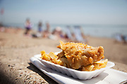 Fish and Chips on the seafront at Southend-on-sea, Essex. Arriving in Southend, you can almost smell this, one of the national dishes of the UK. Either that or the smell of vinegar.