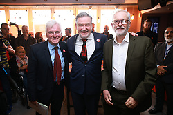© Licensed to London News Pictures. 28/09/2021. Brighton, UK. JOHN MCDONNELL, BARRY GARDINER AND JEREMY CORBYN at a Stop Fire and Rehire fringe event. The fourth day of the 2021 Labour Party Conference , which is taking place at the Brighton Centre . Photo credit: Joel Goodman/LNP