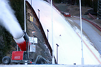 Trondheim 02. Desember 2003, Granåsen, Granasen, snøkanoner, FIS WC Ski Jumping and Nordic Combined, hopp og kombinert.  <br />There has been a spell of mild weather lately, but a cold front now ensures snow production from 08 AM today until approx. 0300 AM tomorrow.  The ski jumping hill is well prepared and safe, but the cross country part of the nordic combined has been reduced to 1,5 km to make sure both events can be arranged according to plan.<br /><br />Foto: Carl-Erik Eriksson, Digitalsport