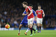 Daley Blind of Manchester United breaks away from Diego Costa of Chelsea. Barclays Premier league match, Chelsea v Manchester Utd at Stamford Bridge in London on Sunday 7th February 2016.<br /> pic by John Patrick Fletcher, Andrew Orchard sports photography.