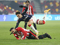 Middlesbrough's Marcus Tavernier and Brentford's Saman Ghoddos<br /> <br /> Photographer Rob Newell/CameraSport<br /> <br /> The Emirates FA Cup Third Round - Brentford v Middlesbrough - Saturday 9th January 2021 - Brentford Community Stadium - Brentford<br />  <br /> World Copyright © 2021 CameraSport. All rights reserved. 43 Linden Ave. Countesthorpe. Leicester. England. LE8 5PG - Tel: +44 (0) 116 277 4147 - admin@camerasport.com - www.camerasport.com