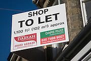 Shop to let commercial property sign, UK