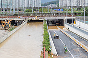 FUZHOU, CHINA - SEPTEMBER 15: <br /> <br />  Image shows a flooded road after Typhoon Meranti on September 15, 2016 in Fuzhou, Fujian Province of China. Typhoon Meranti made landfall in Xiamen at 3:05 a.m on Thursday and caused damage in Fujian. (<br /> ©Exclusivepix Media