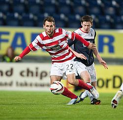 Hamilton's Anthony Andreu and Falkirk's Conor McGrandles.<br /> Falkirk 0 v 0 Hamilton, Scottish Championship game at The Falkirk Stadium. © Michael Schofield 2014.