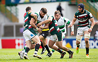 Rugby Union - 2020 / 2021 ER Challenge Cup - Quarter-Final - Leicester Tigers  vs Newcastle Falcons - Welford Road<br /> <br /> Greg Peterson of Newcastle Falcons is tackled by Matt Scott of Leicester Tigers<br /> <br /> Credit : COLORSPORT/BRUCE WHITE