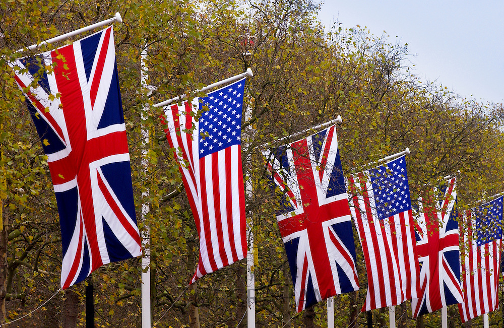 British Union Jack Flag and American Stars and Stripes flags  in The Mall, show detente for VIP visit to Britain, London, England, UK