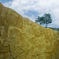 MONGOLIA, Darhad Valley.  Sythian era petroglyphs that probably date about 2700 years before present.  The deer drawings very closely match carvings on distant Deer Stones.