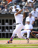 CHICAGO - AUGUST 25:  Delino DeShields #3 of the Texas Rangers bats against the Chicago White Sox during Players Weekend on August  25, 2019 at Guaranteed Rate Field in Chicago, Illinois.  (Photo by Ron Vesely)  Subject:   Delino DeShields
