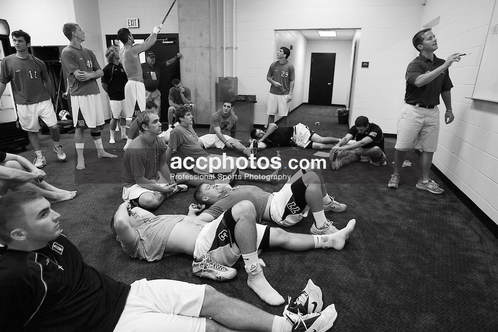 28 May 2007: Duke Blue Devils assistant coach Chris Gabrielli pregame in the locker room before playing Johns Hopkins in the NCAA Championship at M&T Stadium in Baltimore, MD.
