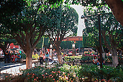 MEXICO, SAN MIGUEL ALLENDE El Jardin plaza with trees and bandshell