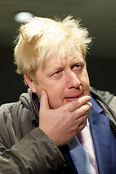 © licensed to London News Pictures. London, UK 05/02/2014. Mayor of Boris Johnson talking to media before leaving London Bridge Underground Station on his way to City Hall during the 48 hour tube strike called by RMT Union on Wednesday, 5 February 2014. Photo credit: Tolga Akmen/LNP