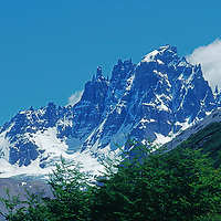 Andes Mountains, Chile. Southern beech trees and 2819-meter Cerro Castillo, near Coihaique.