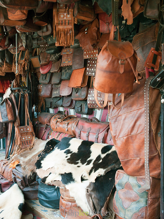 Leather goods for sale near the Tannery in the medina of Fes, Morocco