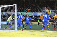 Shawn McCoulsky of Newport county (2nd right) jumps highest and heads to score his teams 2nd goal to make it 2-1.. Emirates FA Cup , 3rd round match, Newport county v Leeds Utd at Rodney Parade in Newport, South Wales on Sunday 7th January 2018.<br /> pic by Andrew Orchard,  Andrew Orchard sports photography.