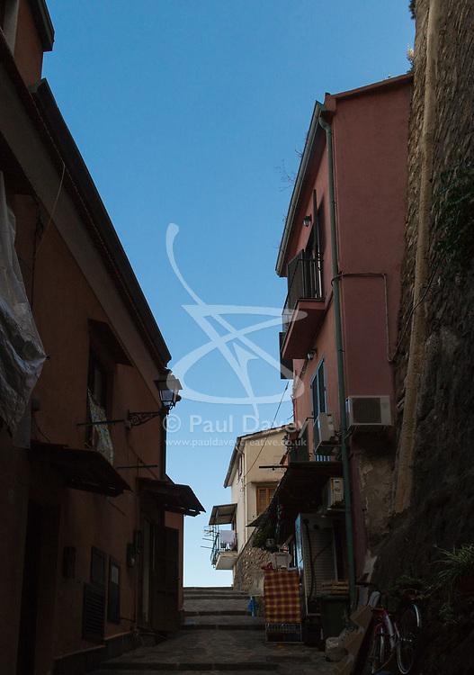 Sorrento, Italy, September 15 2017. Blue sky is revealed from among shady streets in Sorrento, Italy. © Paul Davey