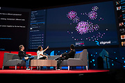 Hosts Chris Anderson and Whitney Pennington Rodgers speak with Jack Dorsey at TED2019: Bigger Than Us. April 15 - 19, 2019, Vancouver, BC, Canada. Photo: Bret Hartman / TED