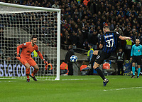 Football - 2018 / 2019 UEFA Champions League - Group B: Tottenham Hotspur vs. Inter Milan<br /> <br /> Milan Skriniar (Inter Milan) is just inches away from making contact with the ball as the cross comes over at Wembley Stadium.<br /> <br /> COLORSPORT/DANIEL BEARHAM