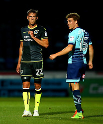 Joe Partington of Bristol Rovers and Dayle Southwell of Wycombe Wanderers - Mandatory by-line: Robbie Stephenson/JMP - 29/08/2017 - FOOTBALL - Adam's Park - High Wycombe, England - Wycombe Wanderers v Bristol Rovers - Checkatrade Trophy