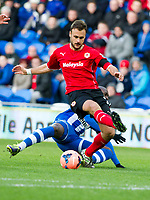 Football - 2013 / 2014 FA Cup - Fifth Round: Cardiff City vs. Wigan Athletic<br /> <br /> juan cala & Marc-Antoinne Fortune at the Cardiff City Stadium<br /> <br /> COLORSPORT/WINSTON BYNORTH