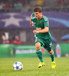 19.08.2015, Ernst Happel Stadion, Wien, AUT, UEFA CL, SK Rapid Wien vs Schachtjor Donezk, Playoff, Hinspiel, im Bild Stephan Auer (SK Rapid Wien)// during UEFA Champions League Playoff 1st Leg match between SK Rapid Vienna and FC Shakhtar Donetsk at the Ernst Happel Stadium in Vienna on 2015/08/19. EXPA Pictures © 2015, PhotoCredit: EXPA/ Sebstian Pucher